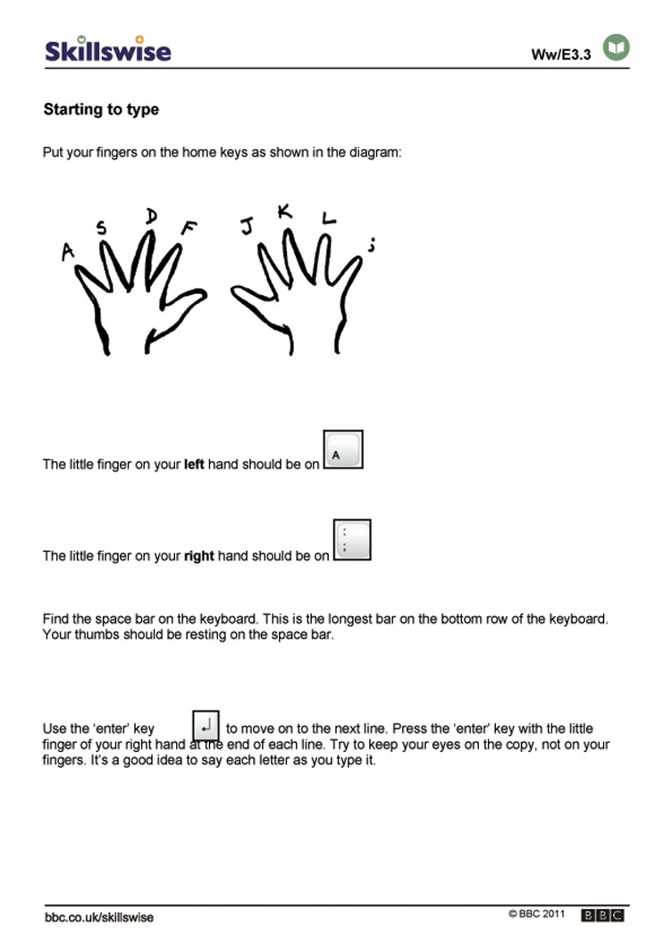 Worksheets Keyboarding Worksheets en09typi e3 w starting to type 752x1065 jpg typing