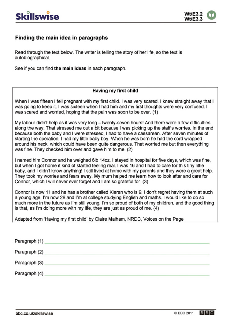 Finding The Main Idea Worksheet - Pichaglobal