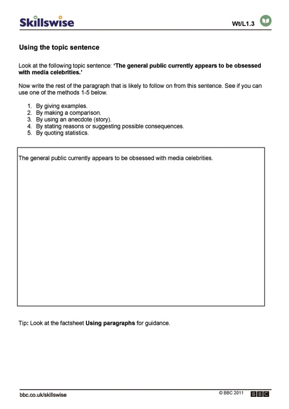 Printables Topic Sentence Worksheet using the topic sentence