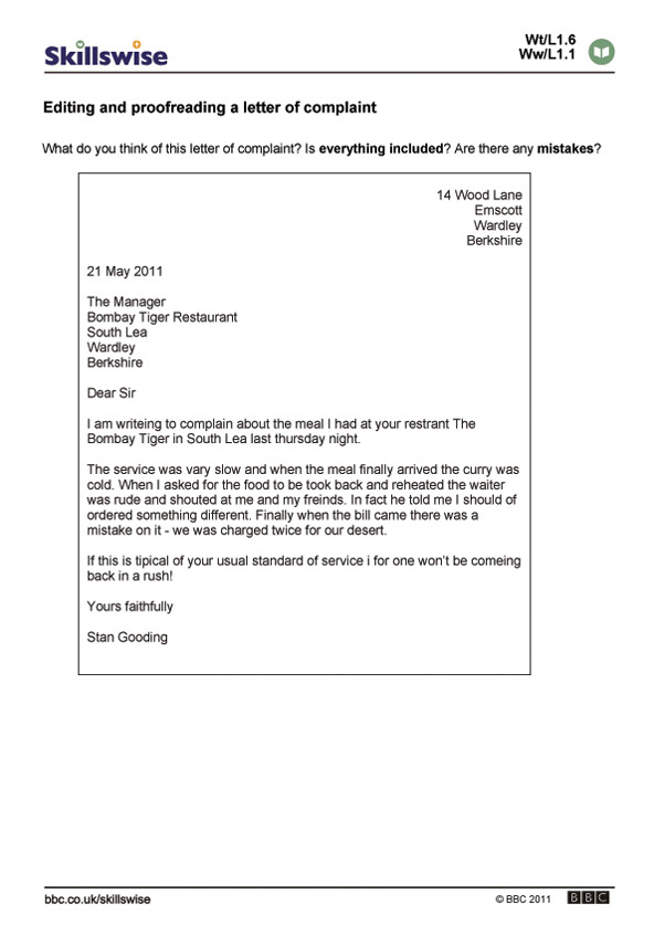 Printables Proofreading And Editing Worksheets editing and proofreading a letter of complaint