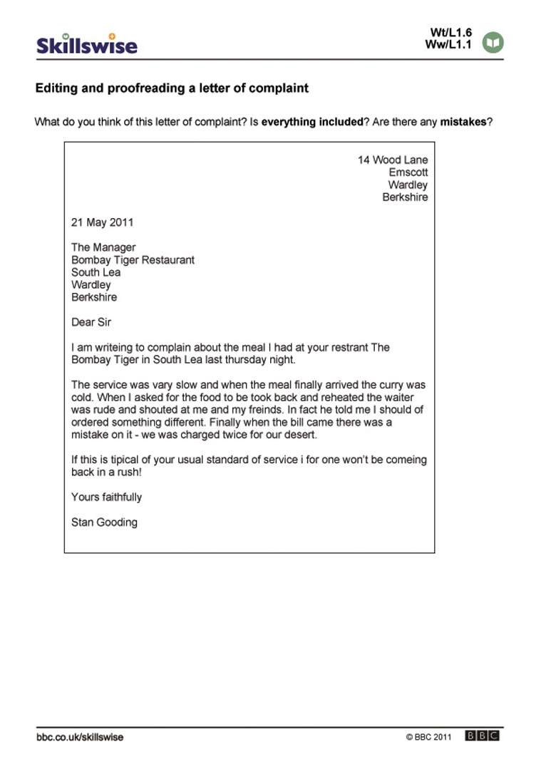 Worksheets Editing Worksheet editing and proofreading a letter of complaint proofreading