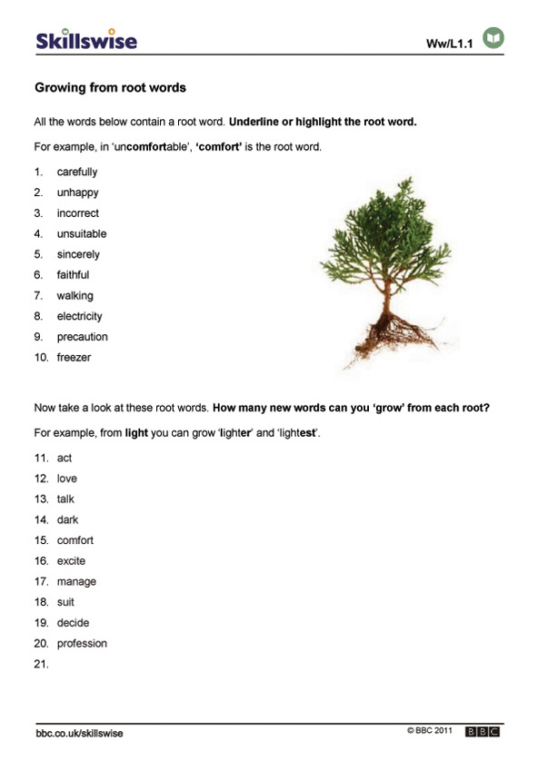 Printables Root Words Worksheets growing from root words