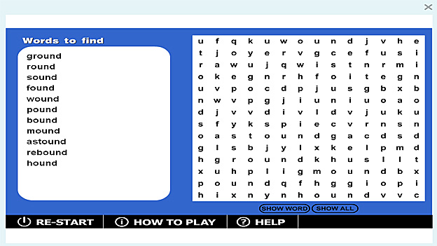 Click to play 'Wordsearch '-ound' game'