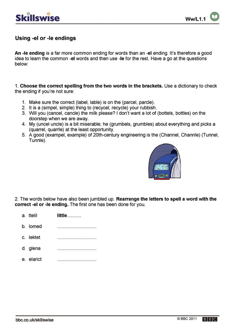 worksheet Your Vs You Re Worksheet using el or le endings common letter patterns worksheet preview