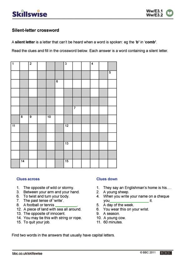 Silent-letter crossword