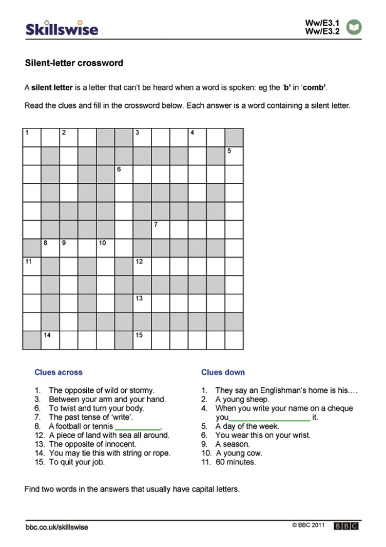 Silentletter crossword – Silent Letters Worksheets