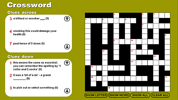 Click to play 'Confusing words crossword game 1'