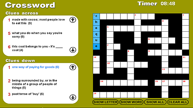 Click to play 'Confusing words crossword game 2'