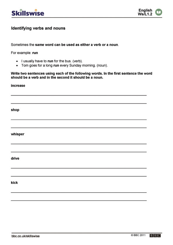 Identifying verbs and nouns – Noun and Verb Worksheets
