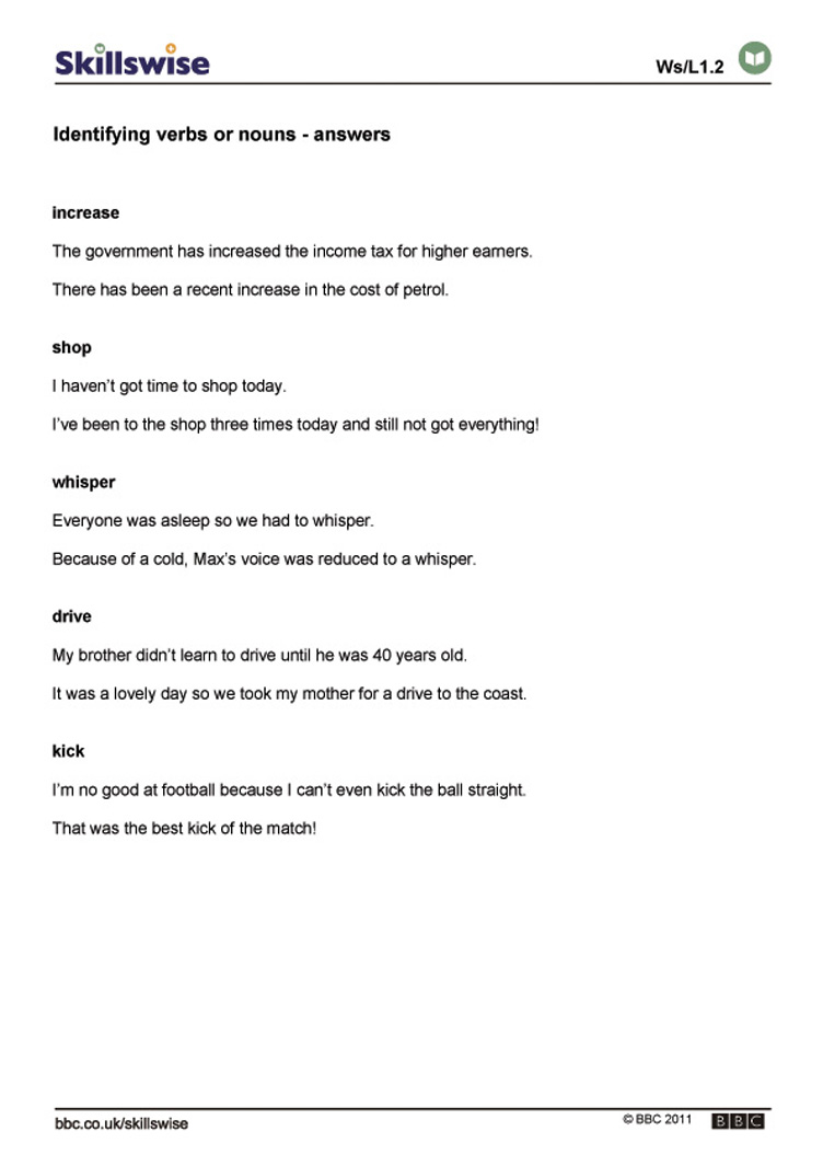 Worksheets Types Of Nouns Worksheet identifying verbs and nouns what are word types nouns