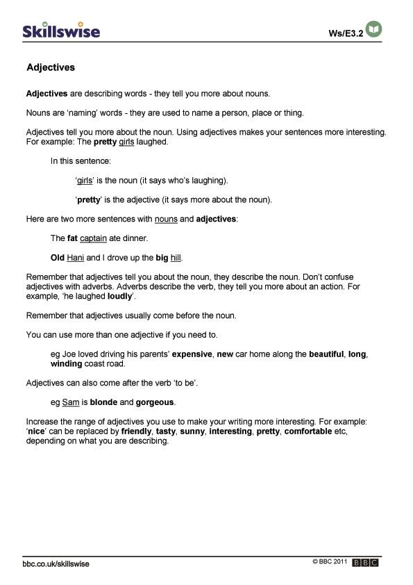 Adjectives bbc skillswise ibookread Read Online