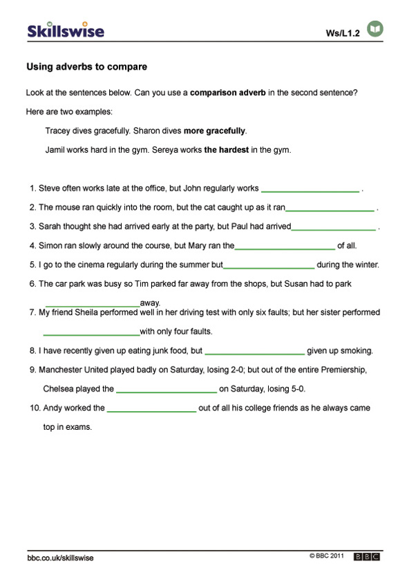 Worksheet Adverbs Worksheet using adverbs to compare worksheet preview