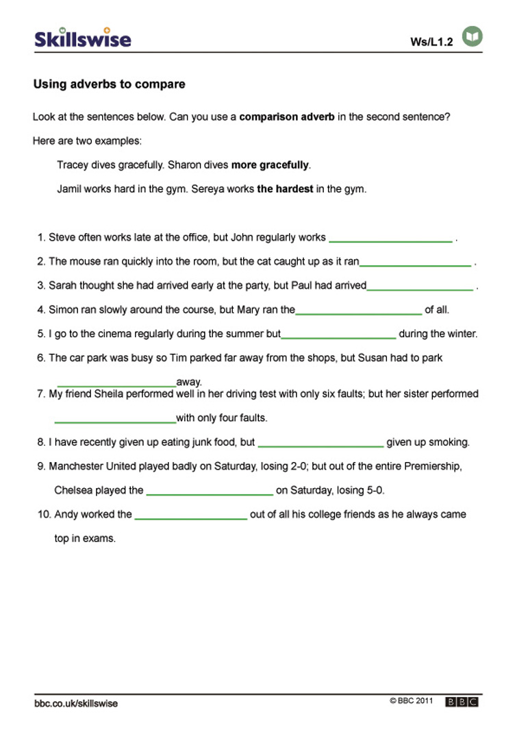 Worksheet Adverbs Worksheet using adverbs to compare
