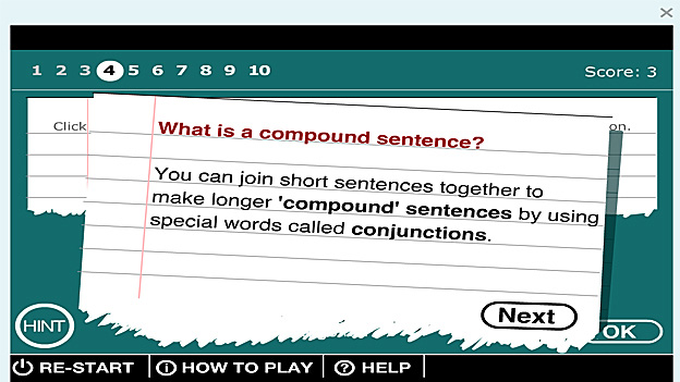 "Next go to ""Make compound sentences"" and playthe game."