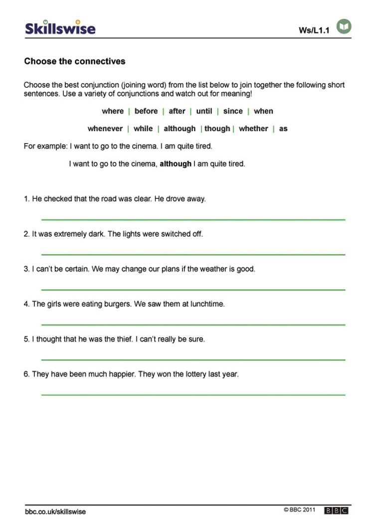 Worksheet Free Printable English Worksheets For Year 3 choose the connectives worksheet preview