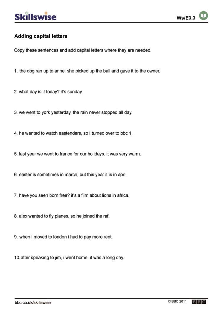 Uncategorized Sentence Editing Worksheets en29punc e3 w adding capital letters 752x1065 jpg punctuation