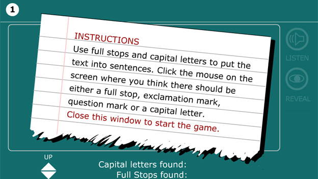 Click to play 'Put text into sentences game'