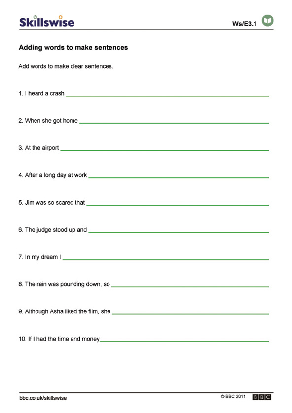 en30strue3waddingwordstomakesentences592x838jpg – Complete Sentence Worksheets
