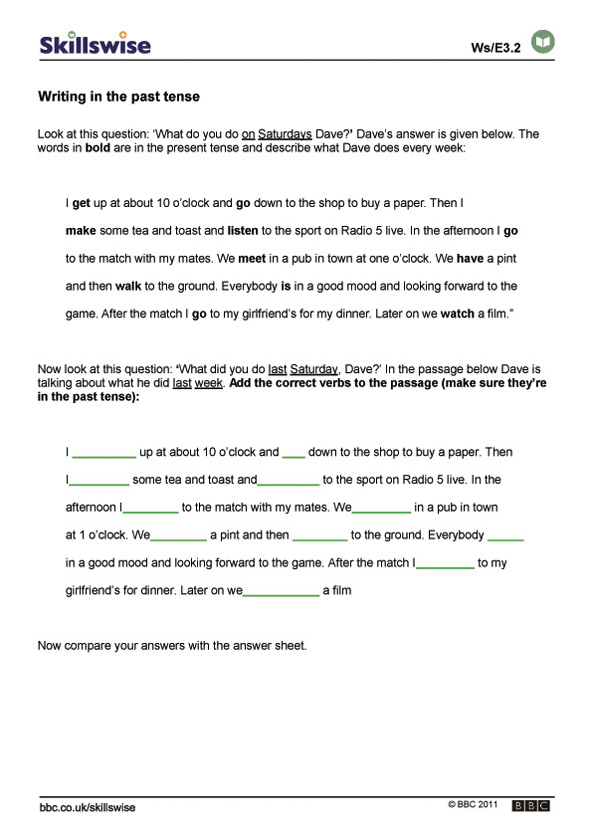 Past Tense Story Worksheet: writing in the past tense,