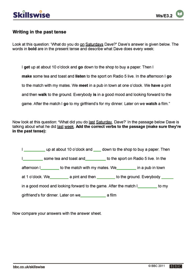 worksheet Simple Past Tense Worksheets en32tens e3 w writing in the past tense 752x1065 jpg present or future tense