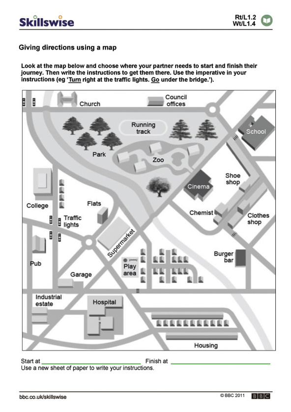 Directions Map Worksheet images