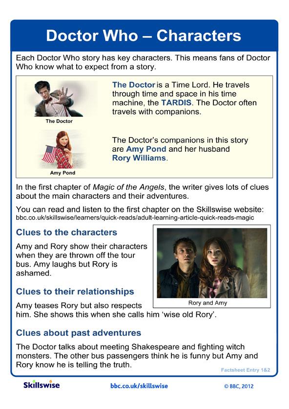Image of 'Doctor Who - Characters' factsheet