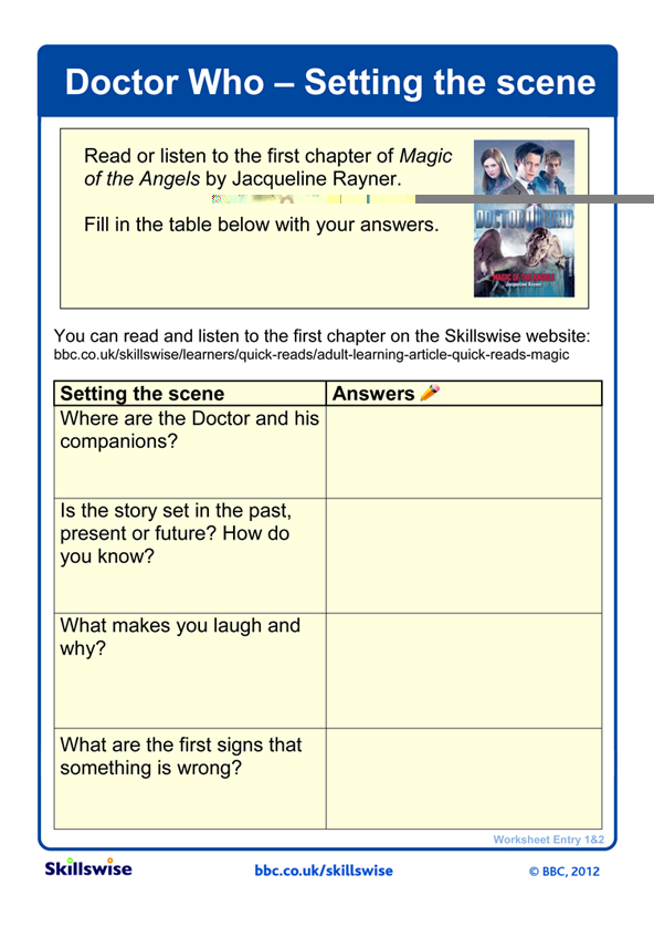 Doctor Who Setting the scene – Setting of a Story Worksheets