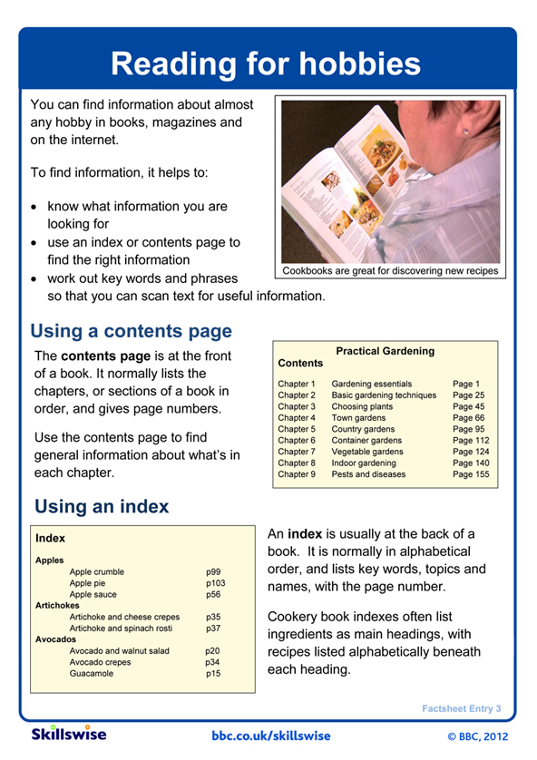 Image of 'Reading for hobbies' factsheet