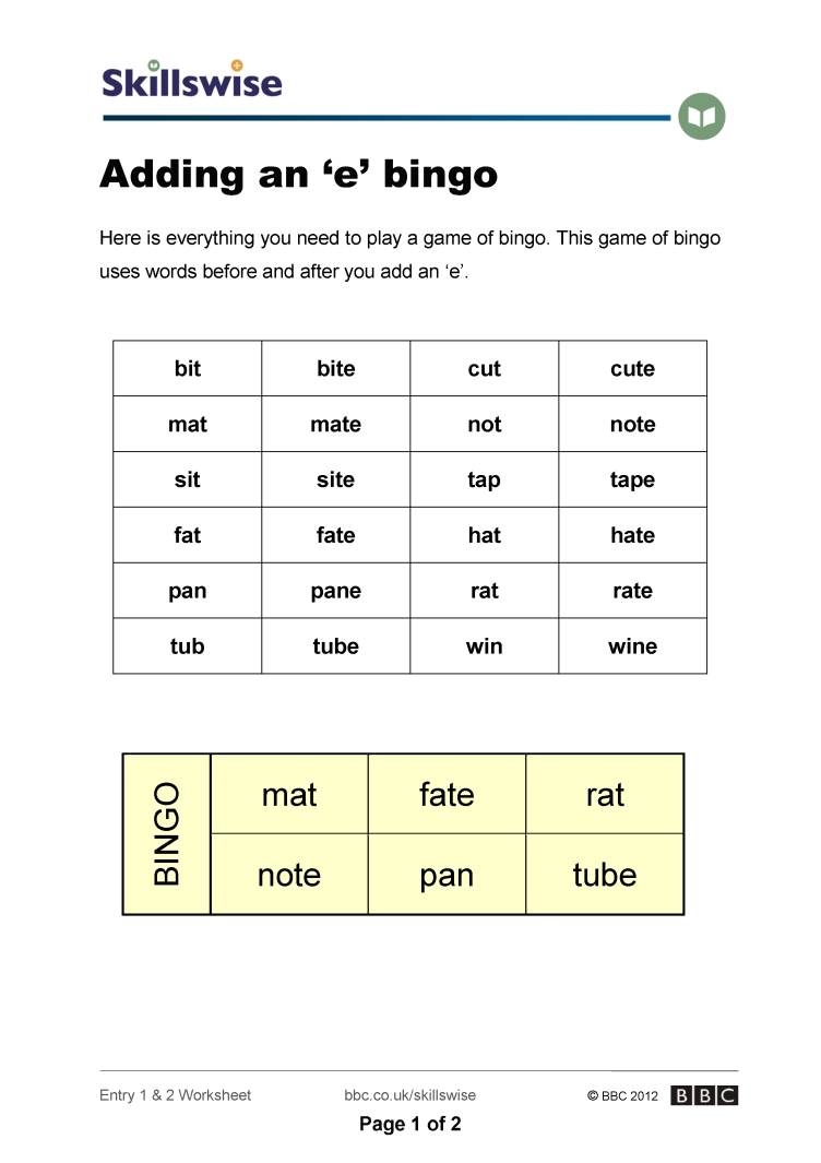 worksheet Bingo Worksheet adding an e bingo the sounds of english worksheet preview
