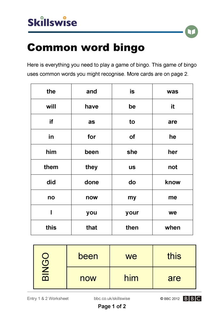 worksheet Bingo Worksheet common word bingo recognising letters and words worksheet preview