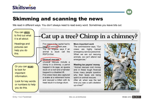 Skimming and scanning the news