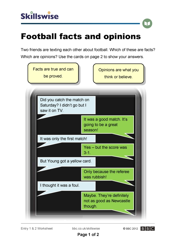 Fact or opinion worksheet preview