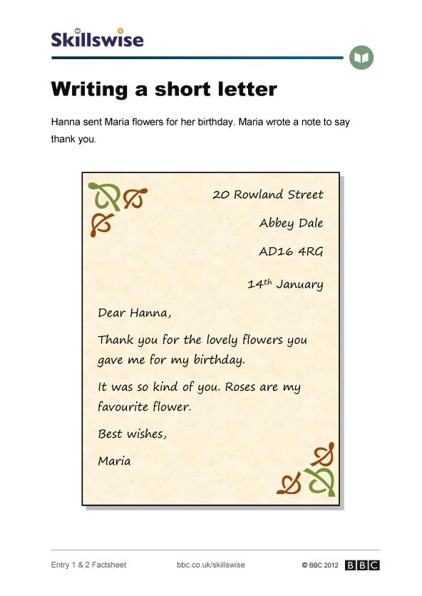 image of writing a short letter factsheet