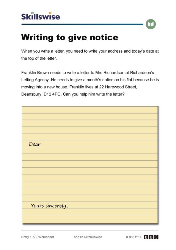 Writing to give notice writing a letter worksheet preview expocarfo Choice Image