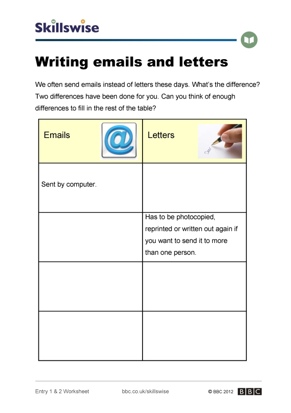 writing a letter worksheet preview