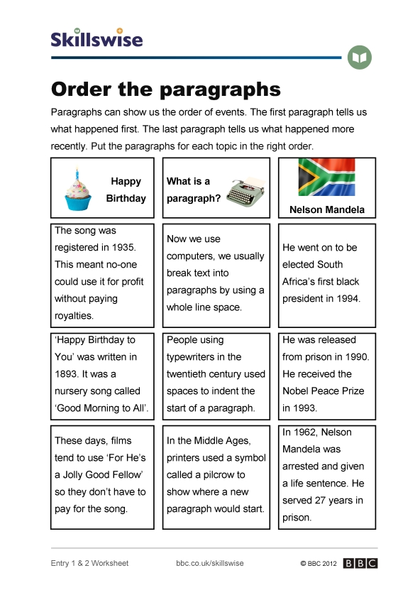 Order the paragraphs – Paragraph Correction Worksheets
