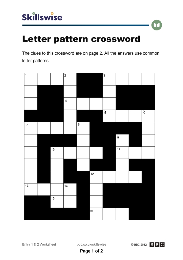 Letter Pattern Crossword Inspiration Letter Pattern