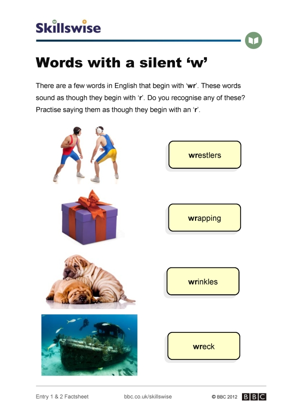 Image of 'Words with a silent 'w' factsheet
