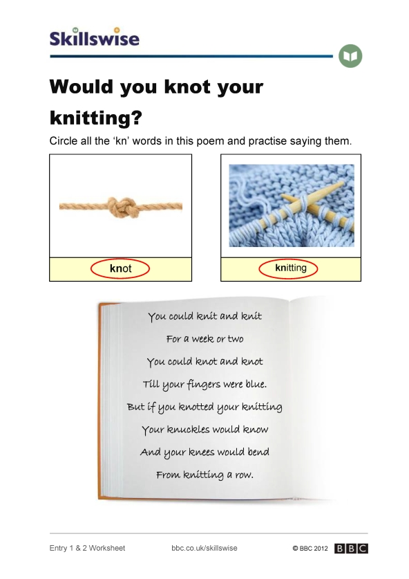 Knitting Rhyme Words : Would you knot your knitting