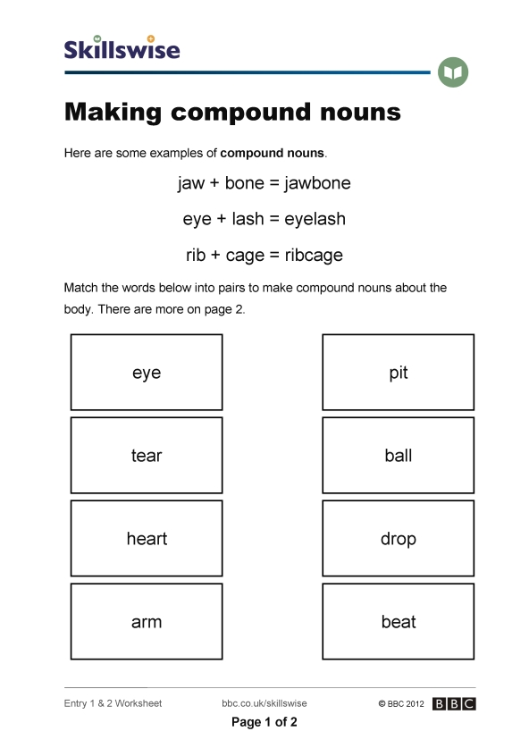 Worksheet Compound Nouns Worksheet making compound nouns