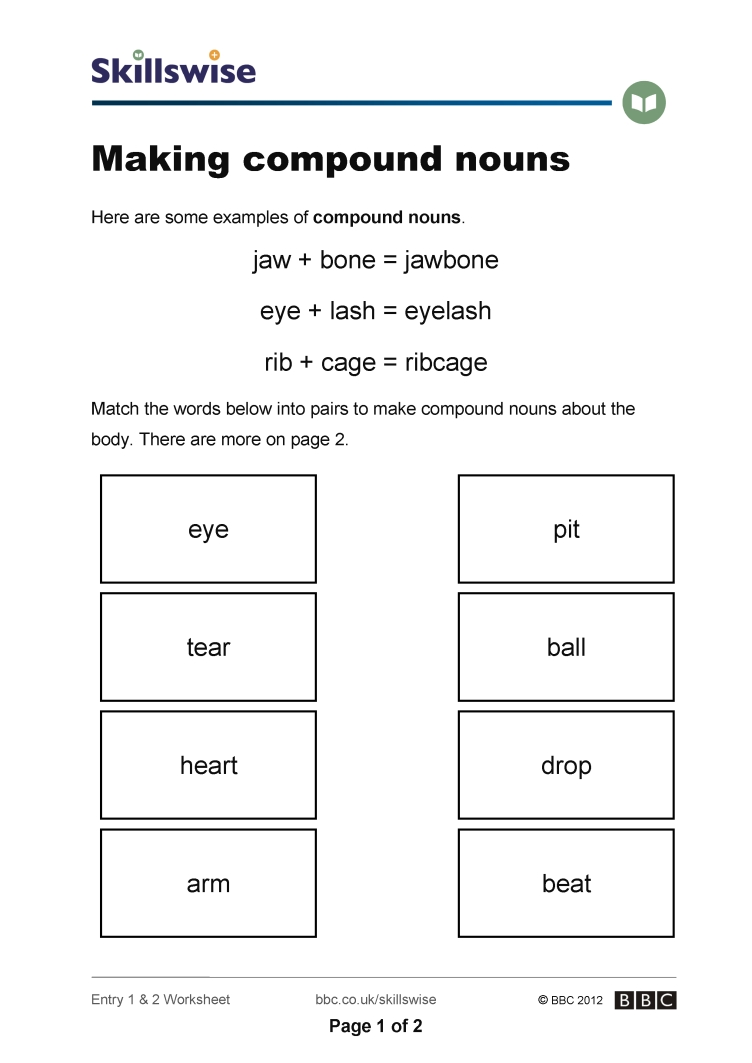 Worksheets Compound Nouns Worksheet en24noun e2 w making compound nouns 752x1065 jpg nouns