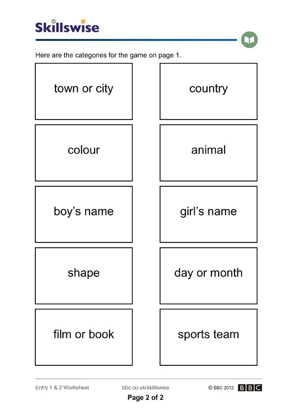 Proper nouns game – Proper Nouns Worksheet