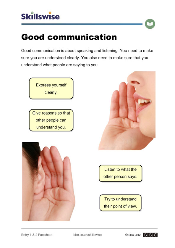 Image of Good communication factsheet