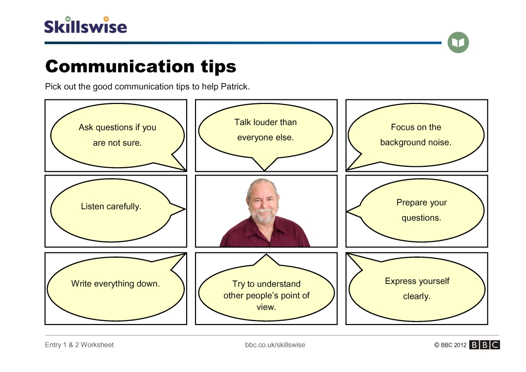Printables Communication Skills Worksheets communication tips skills