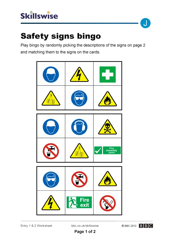 Printables Safety Signs Worksheets safety signs bingo