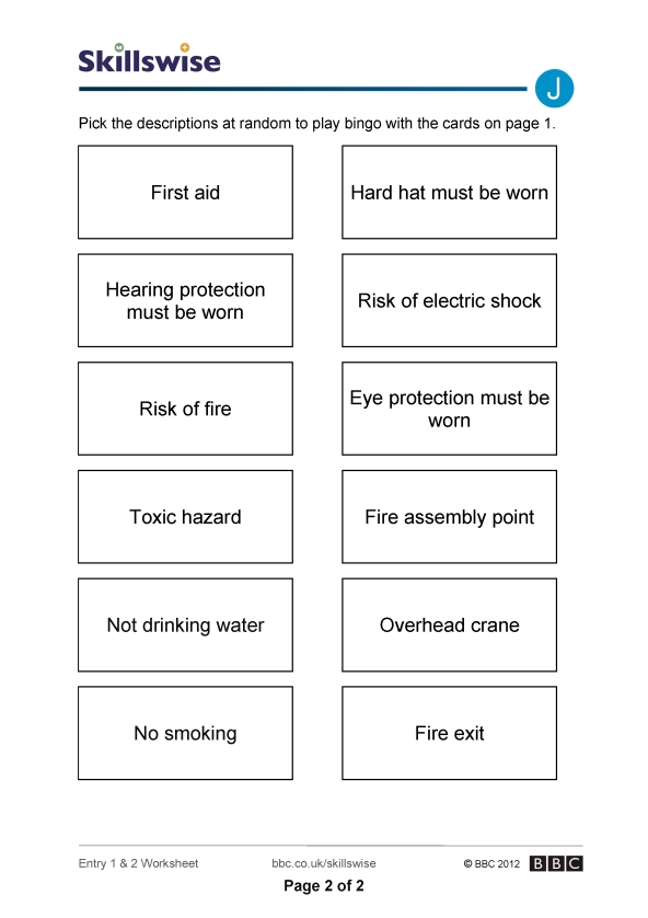 Printables Safety Signs Worksheet safety signs bingo