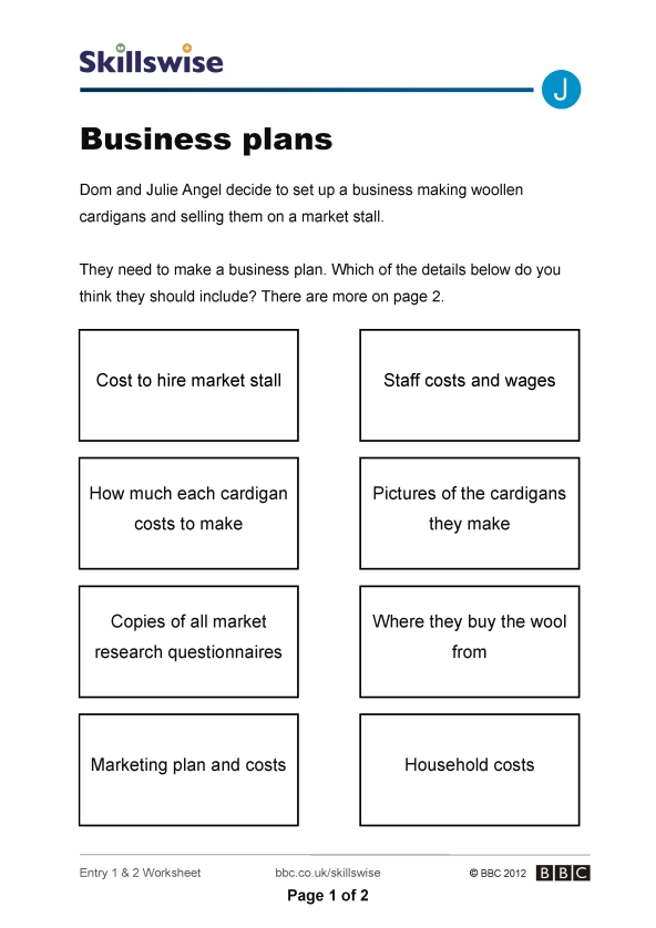 Business plans business and entrepreneur worksheet preview fbccfo Image collections