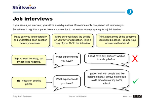 image of job interviews factsheet