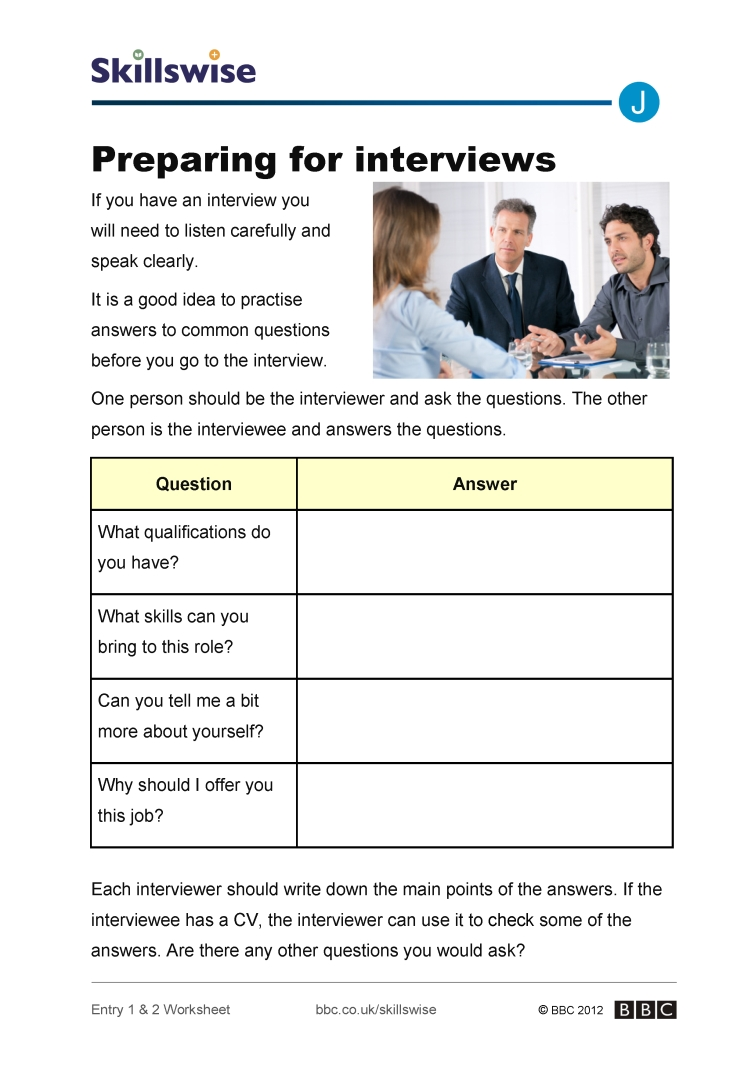 Worksheets Job Interview Worksheets preparing for interviews job seekers interviews