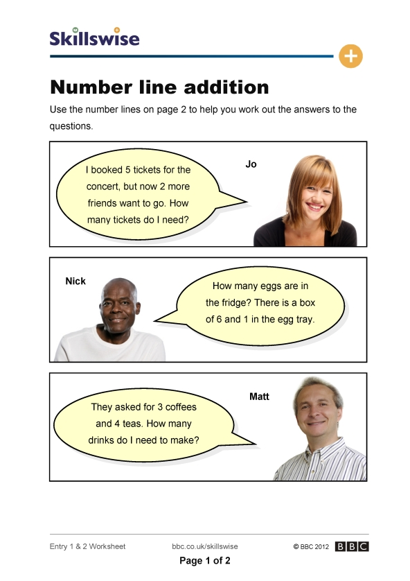 Number line addition – Addition with Number Line Worksheet